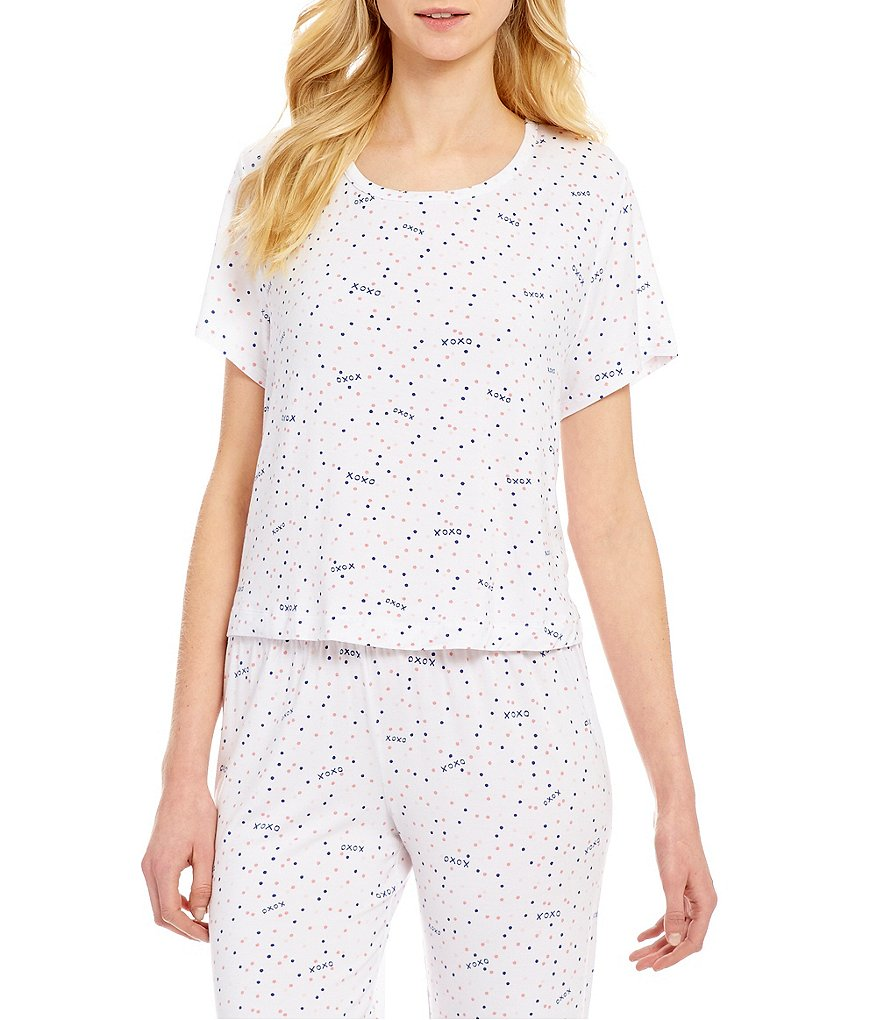 Jasmine & Ginger Dotted XOXO Open-Back Jersey Sleep Top