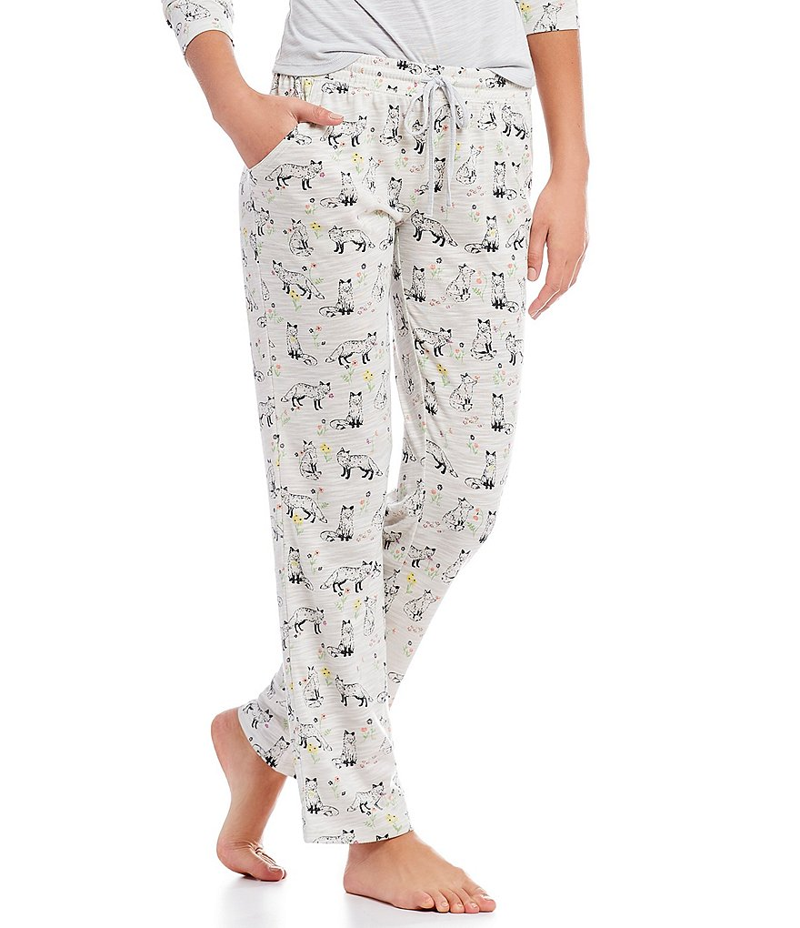 Jasmine & Ginger Fox & Flowers Print Sleep Pants