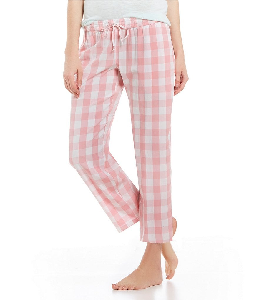 Jasmine & Ginger Large Gingham Print Woven Cropped Sleep Pants