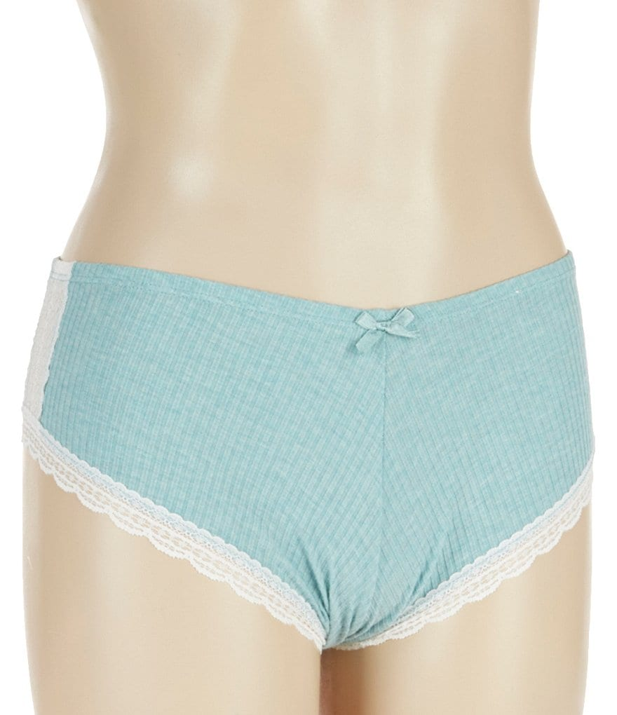 Jasmine & Ginger Ribbed Knit & Scalloped Lace Boy Short Panty