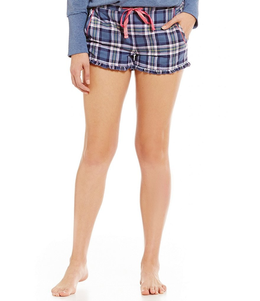 Jasmine & Ginger Ruffled Plaid Flannel Sleep Shorts