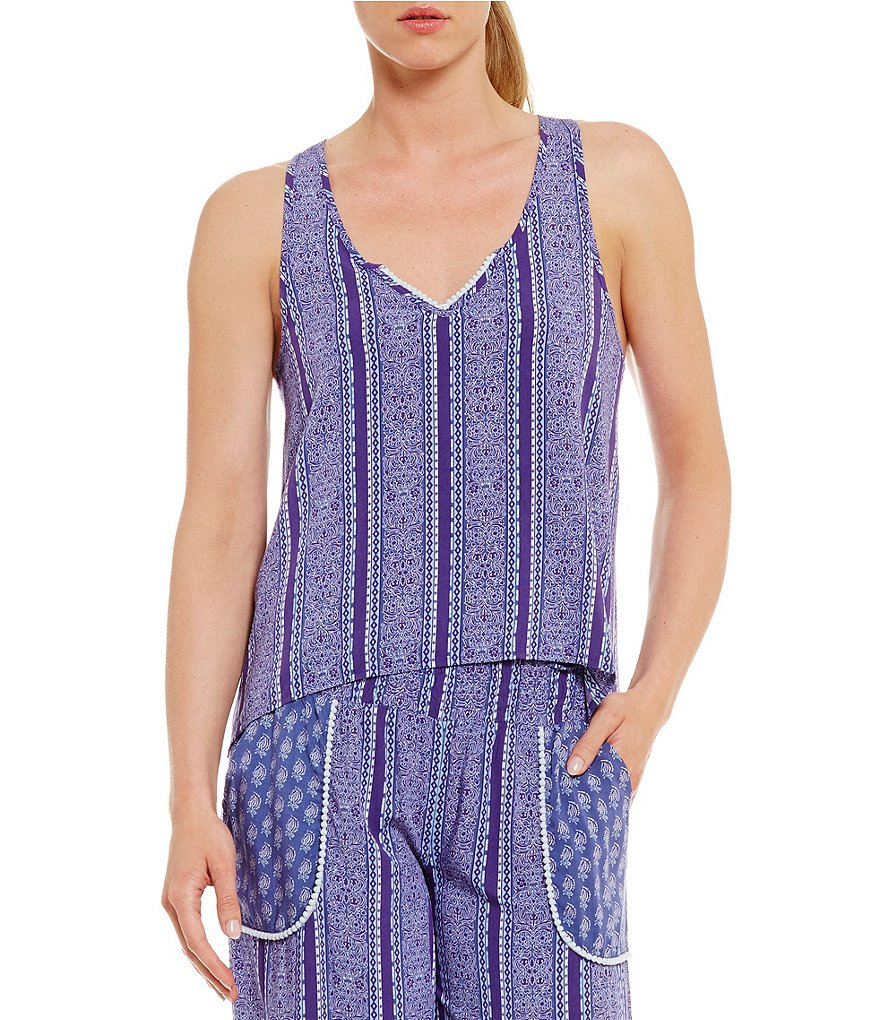 Jasmine & Ginger Striped Split-Back Sleep Tank