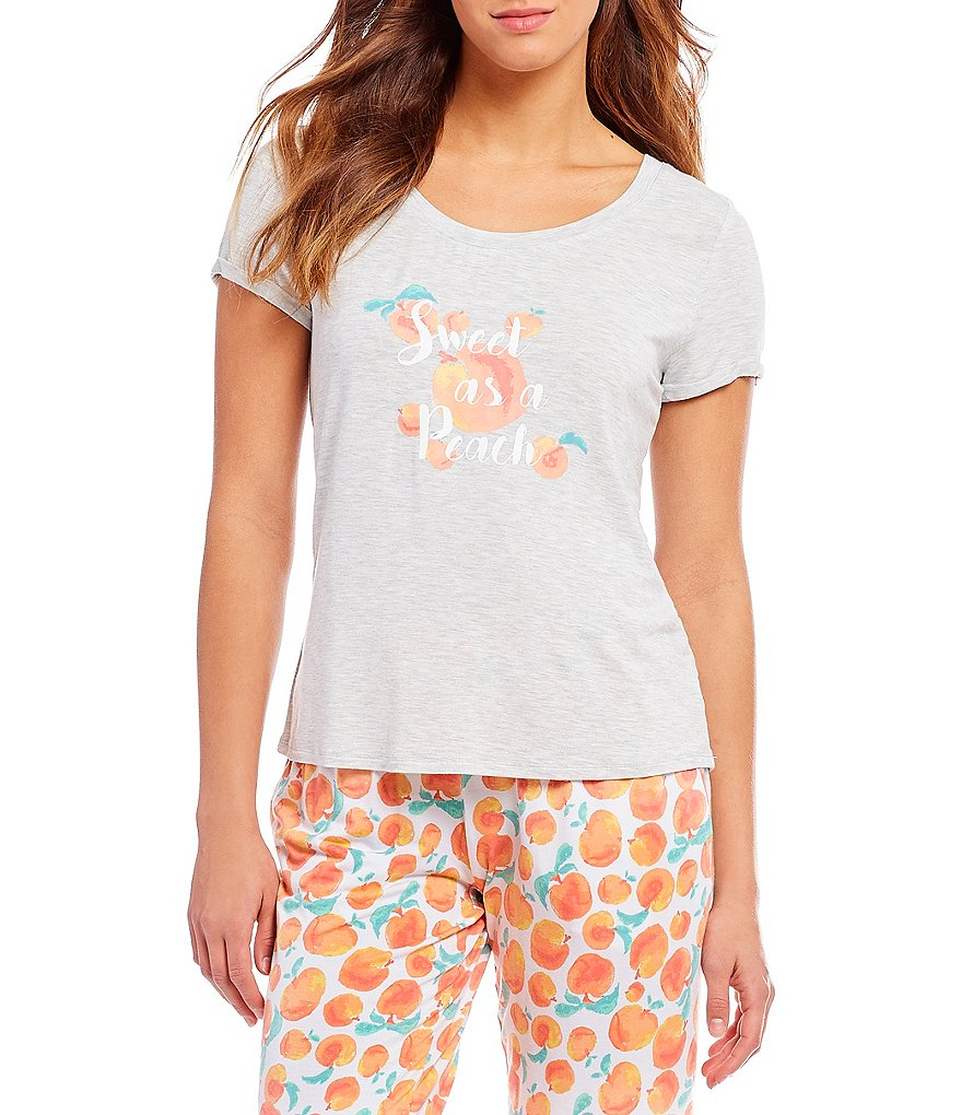 Jasmine & Ginger Sweet Peach-Screen Print Jersey Knit Sleep Tee