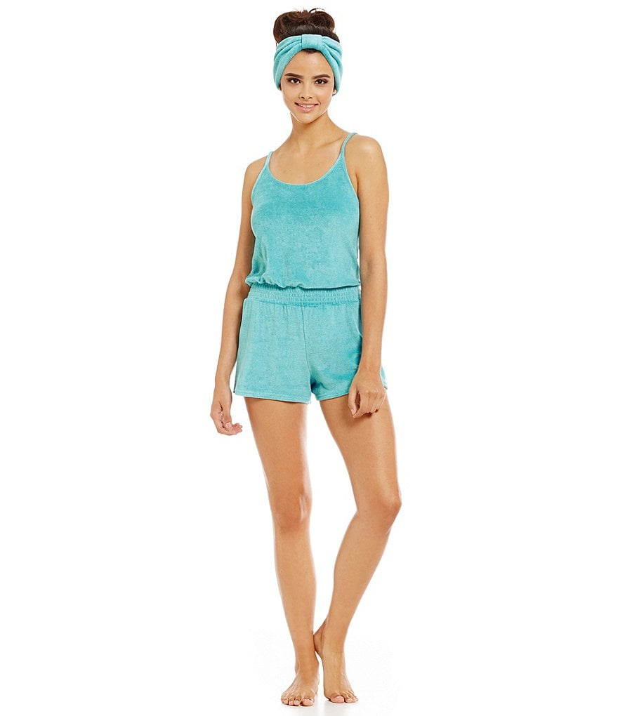 Jasmine & Ginger Terry Lounge Romper with Headband