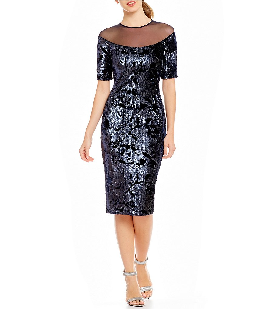 Jax Illusion Neckline Sequin Velvet Sheath Dress