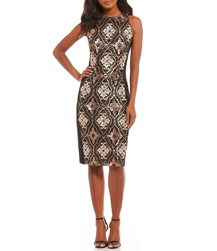 Jax Sequin Bead Sheath Dress