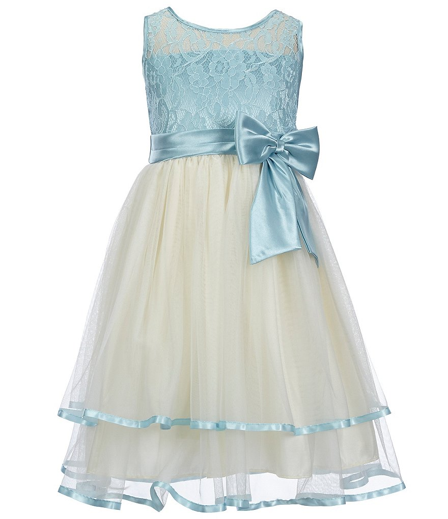 Jayne Copeland Little Girls 2T-6X Color Block Lace Satin-Trim Dress