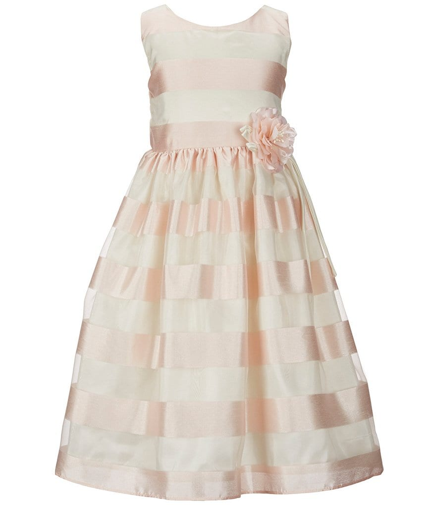 Jayne Copeland Little Girls 2T-6X Striped Floral-Appliqué Dress