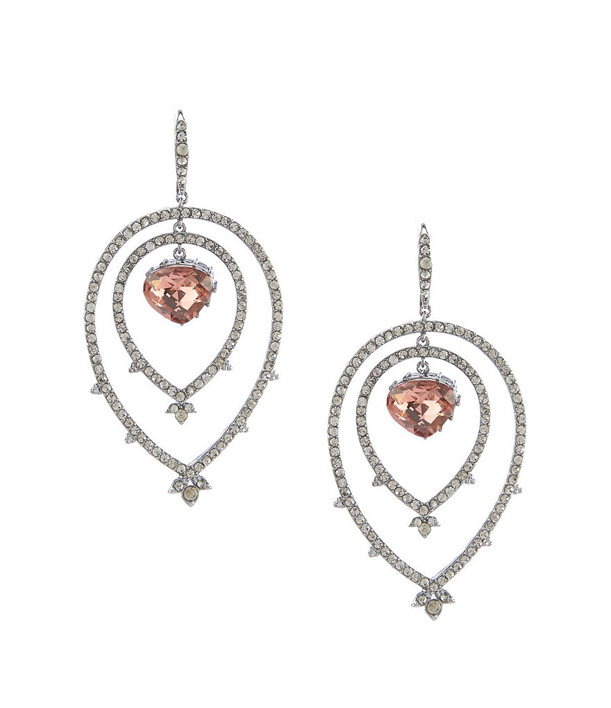 Jenny Packham Amethyst Stone Pave Orbital Earrings