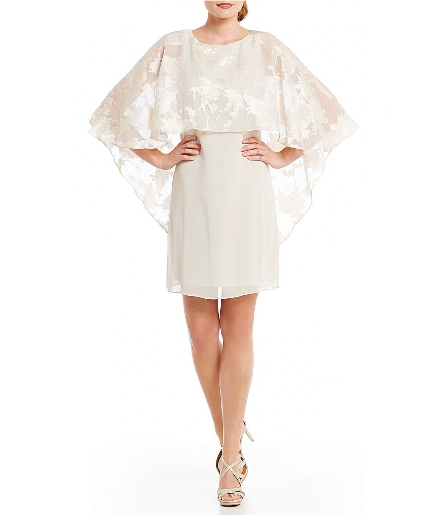 Jessica Howard Burnout Chiffon Capelet Dress