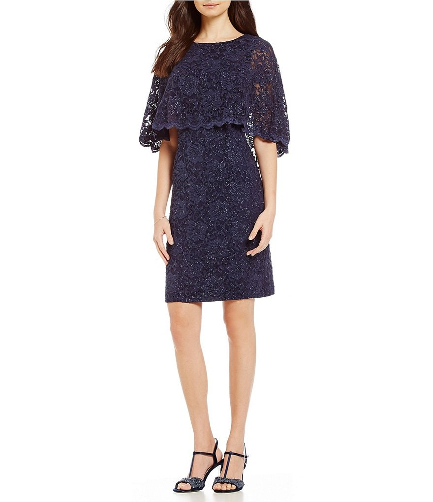 Jessica Howard Lace Capelet Sheath Dress