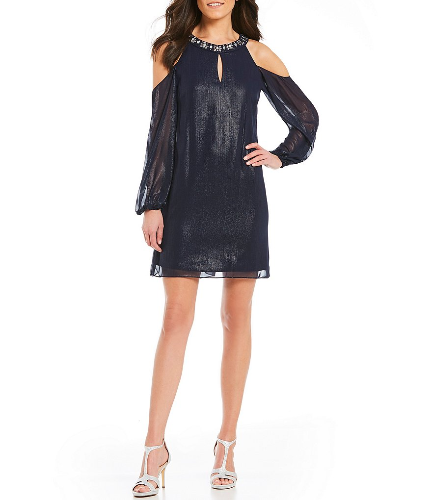 Jessica Howard Cold-Shoulder Balloon-Sleeve Trapeze Dress