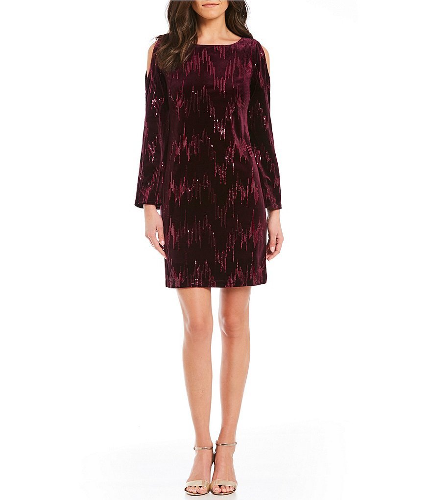Jessica Howard Cold-Shoulder Sequined Velvet Sheath Dress
