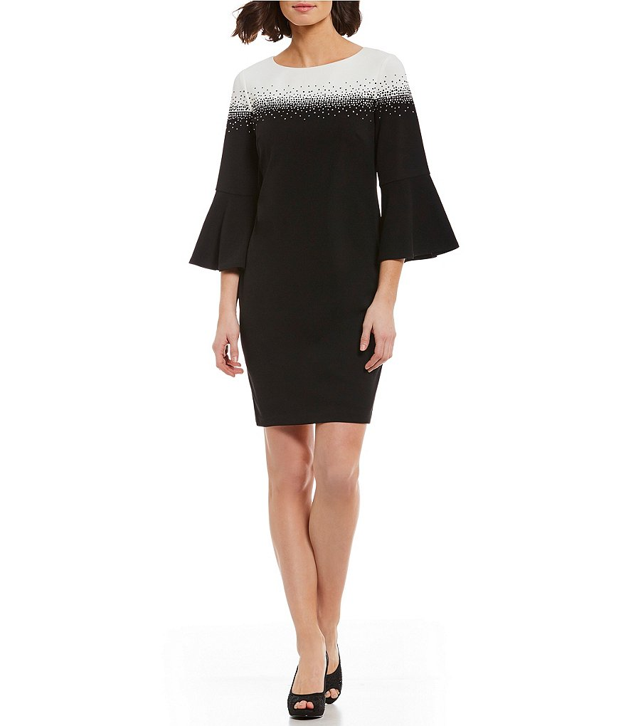 Jessica Howard Colorblock Bell Sleeve Dress