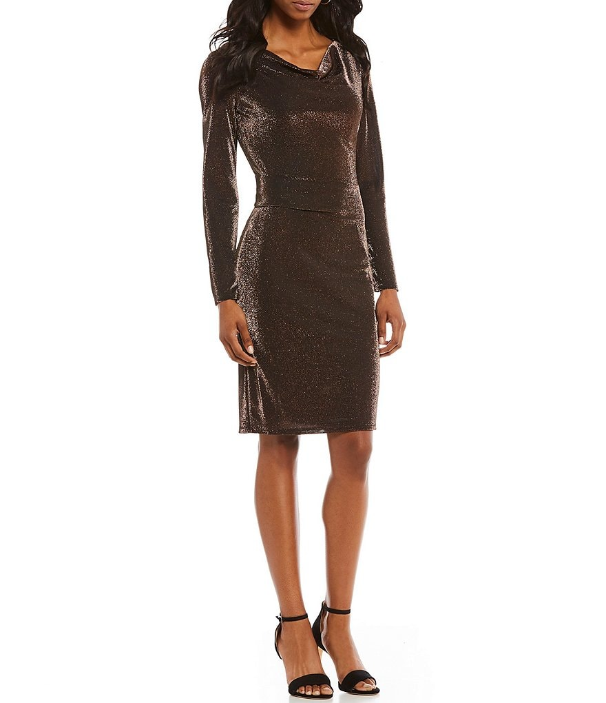 Jessica Howard Cowlneck Metallic Sheath Dress