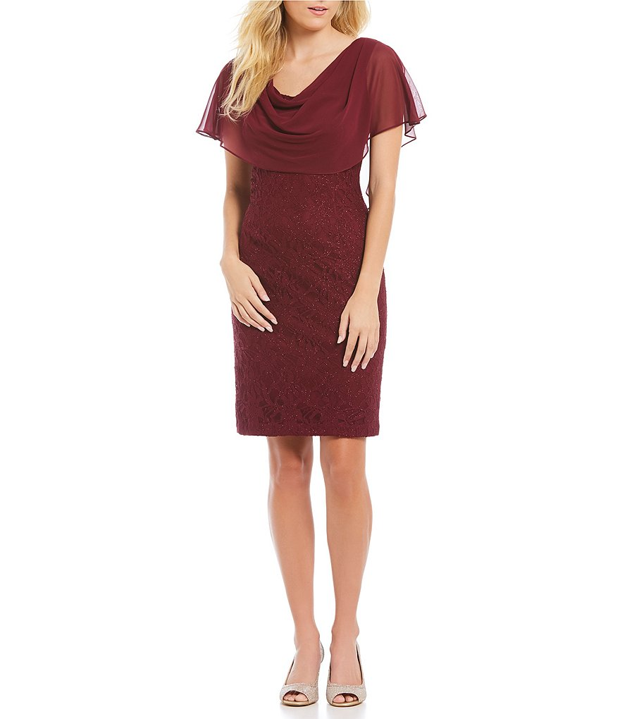 Jessica Howard Draped Cowlneck Lace Sheath Dress