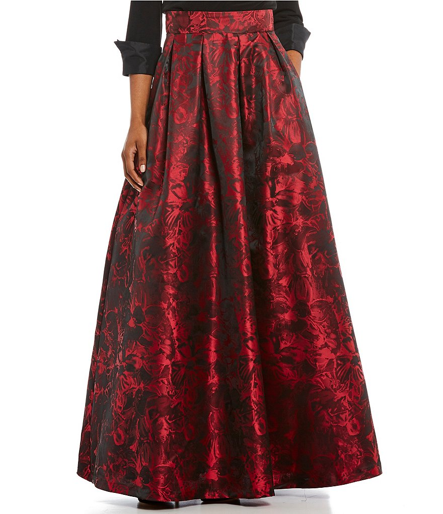 Jessica Howard Floral-Print Taffeta Ball Skirt