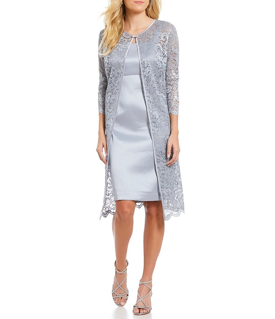 Jessica Howard Glitter Lace 2-Piece Jacket Dress