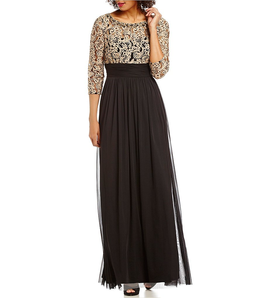 Jessica Howard Illusion Lace Mesh 3/4 Sleeve Gown | Dillards