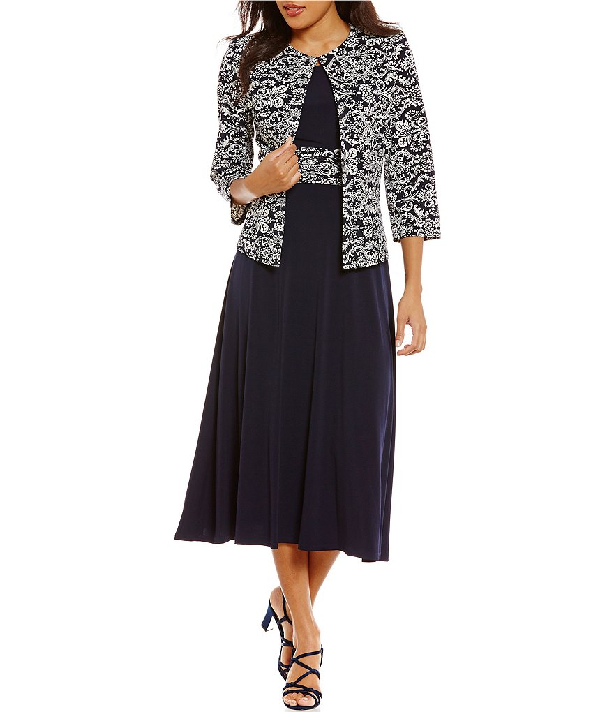 Jessica Howard Metallic Lace 2-Piece Jacket Dress