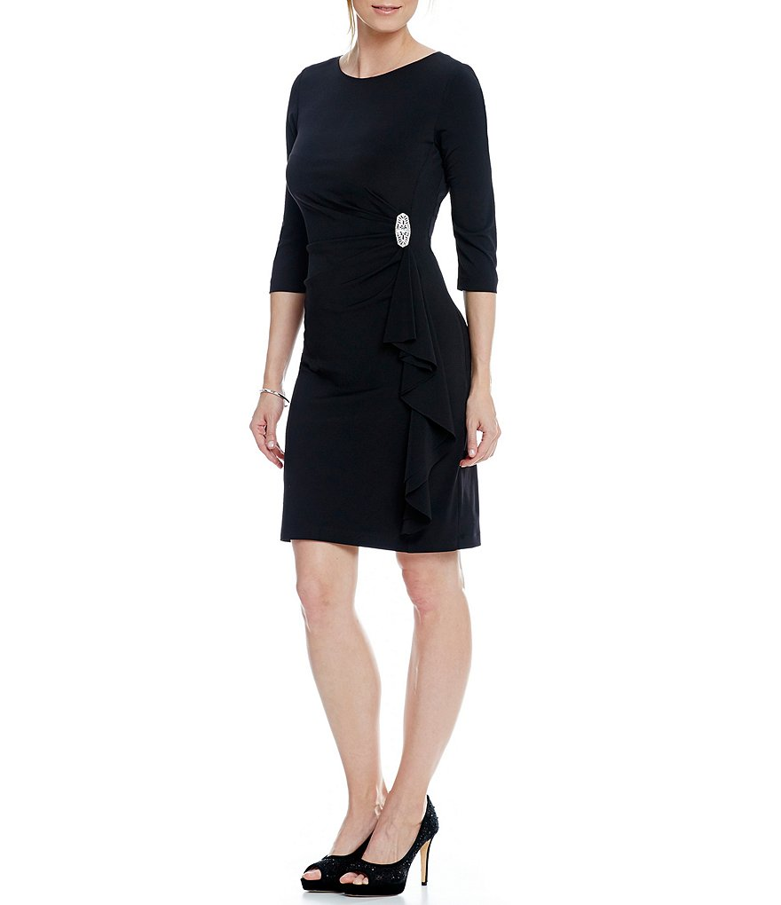 Jessica Howard Petite 3/4 Sleeve Cascade Ruffle Dress