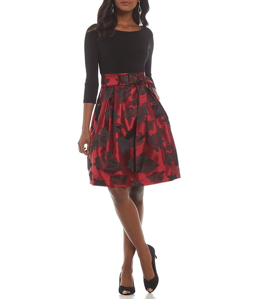 Jessica Howard Petite 3/4 Sleeve Floral Print Party Dress