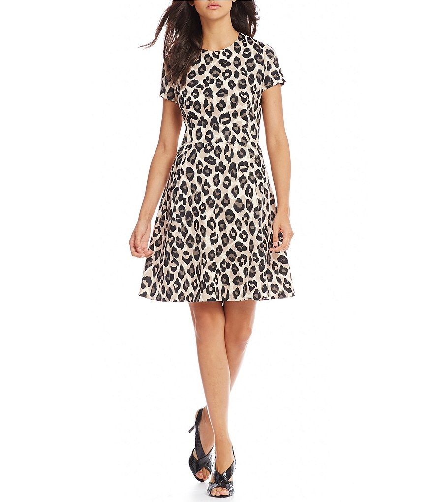 Jessica Howard Petite Animal Print Fit-and-Flare Dress