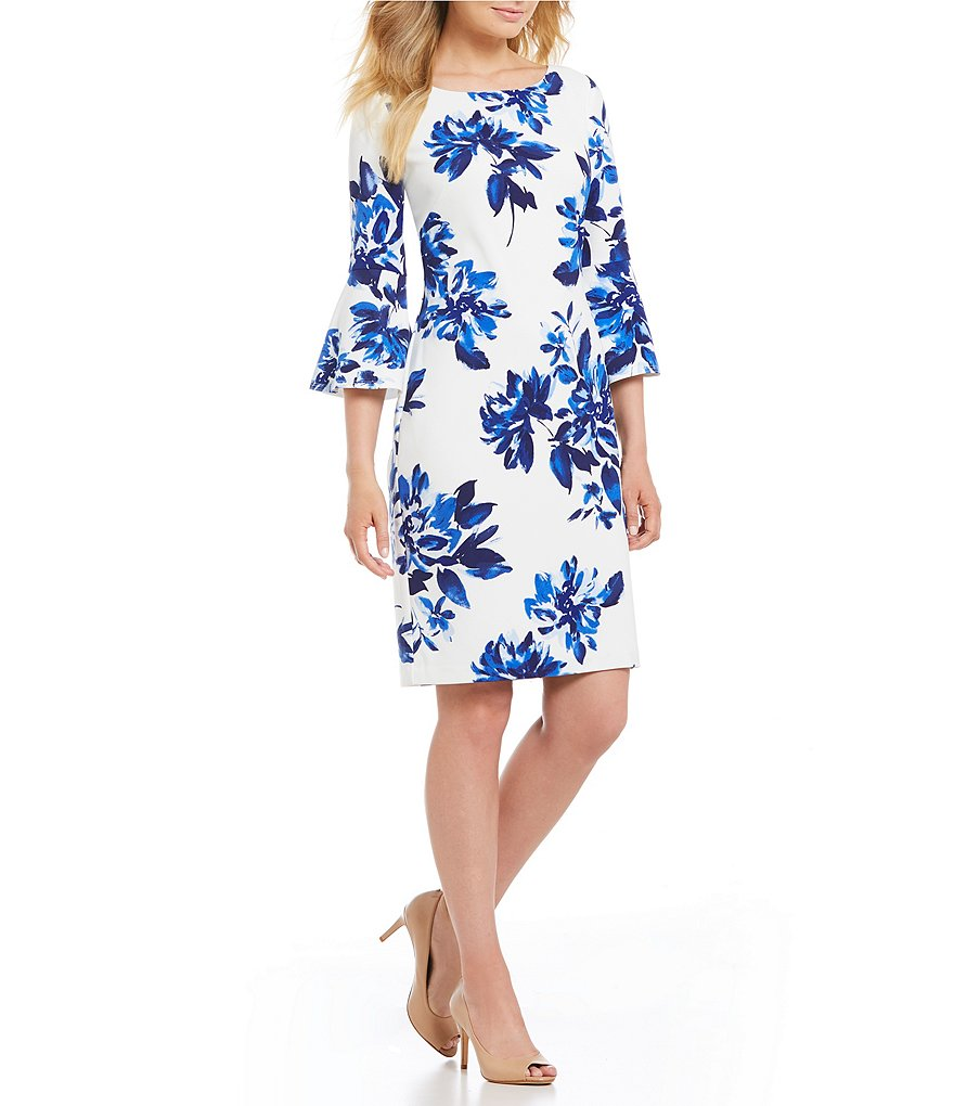Jessica Howard Petite Bell Sleeve Floral Dress