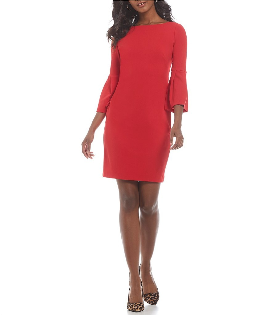 Jessica Howard Petite Bell-Sleeve Sheath Dress