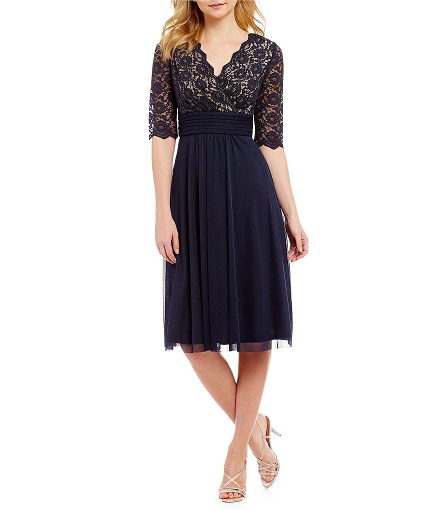 Jessica Howard Petite Surplice Bodice Dress | Dillards