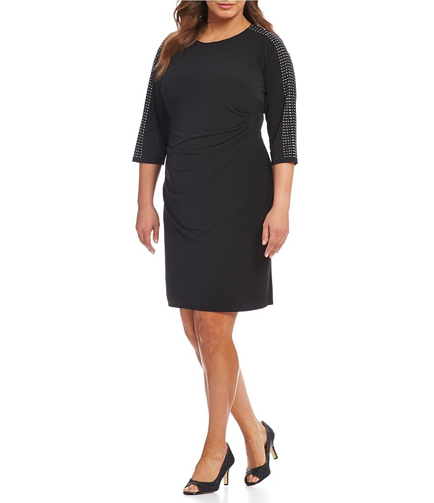 Jessica Howard Plus Heat Stone Trim Sheath Dress