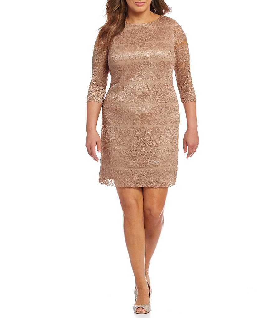 Jessica Howard Plus Lace Shift Dress