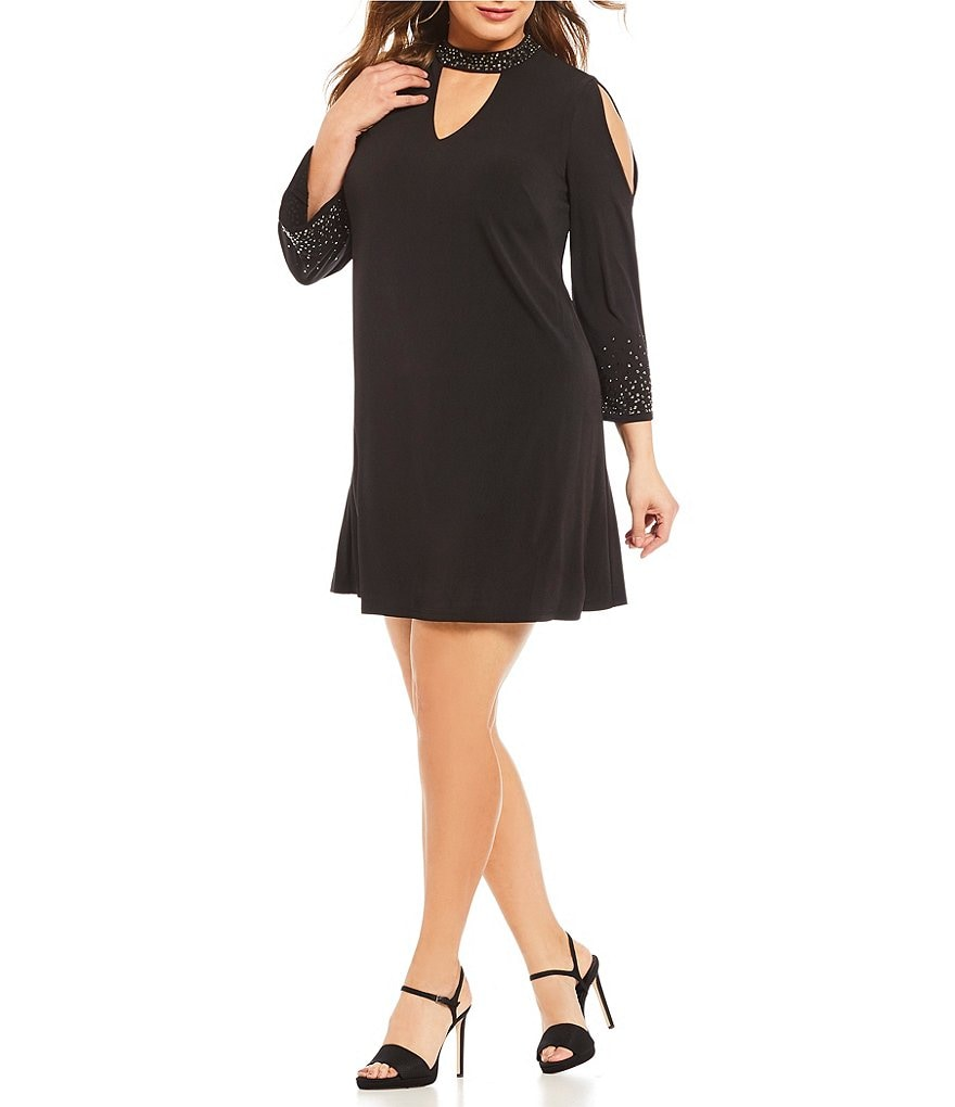 Jessica Howard Plus Mockneck Bell-Sleeve Shift Dress