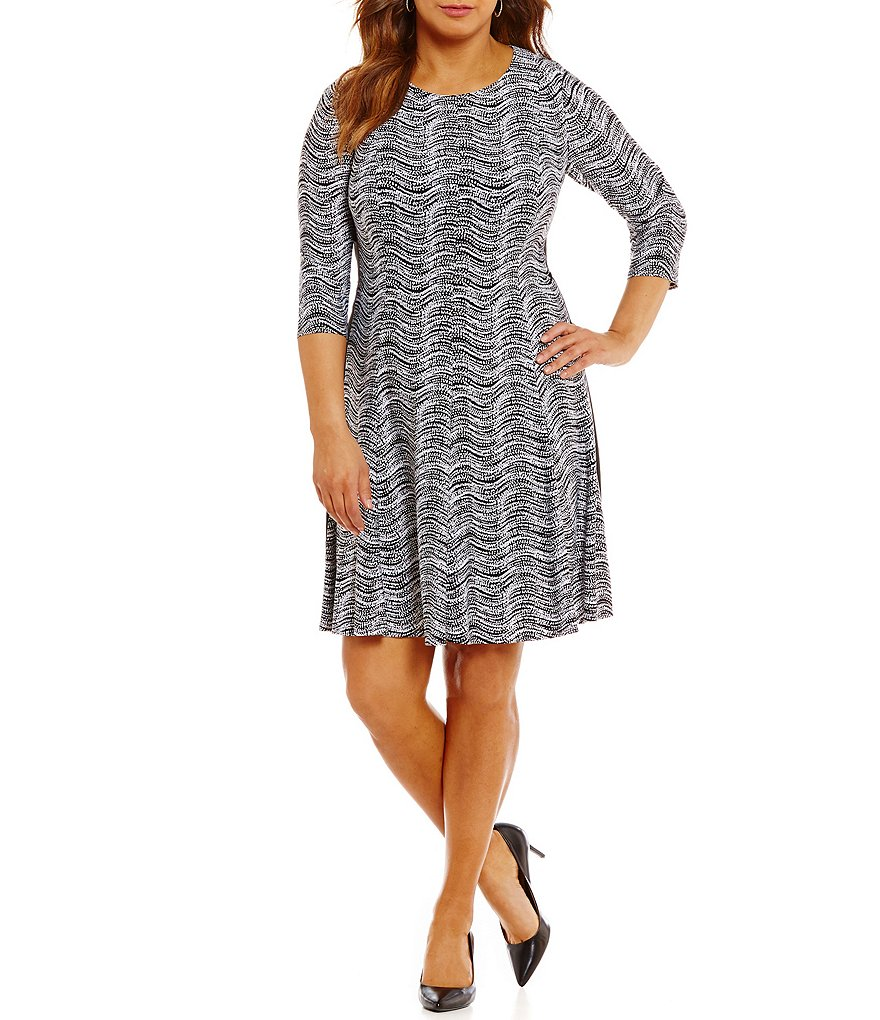 Jessica Howard Plus Printed Fit-and-Flare Knit Dress