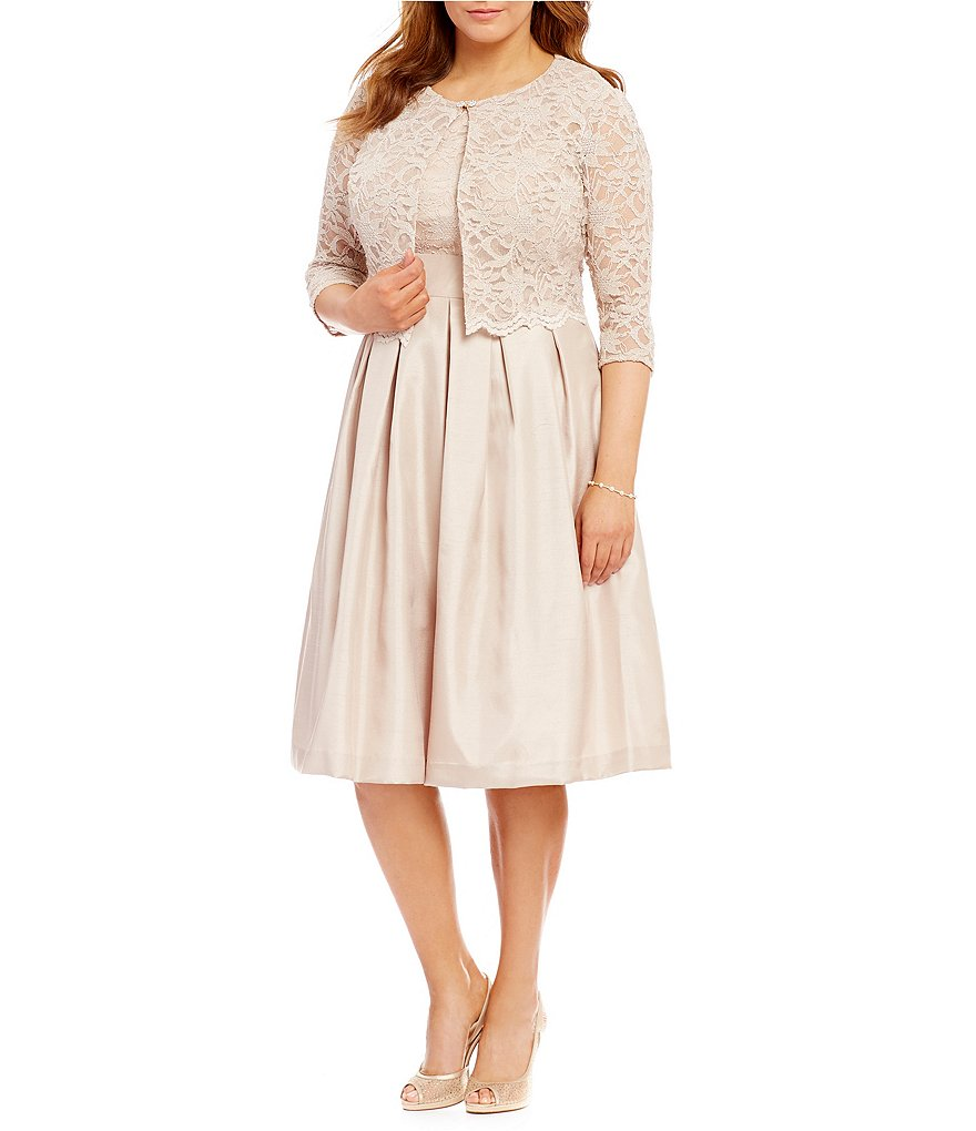 Jessica Howard Plus Scalloped Trim Lace 2-Piece Jacket Dress ...