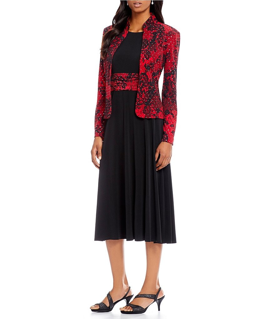 Jessica Howard Sequined Floral-Print 2-Piece Jacket Dress