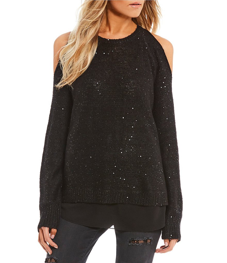 Jessica Simpson Abbey Sequin Cold Shoulder Sweater