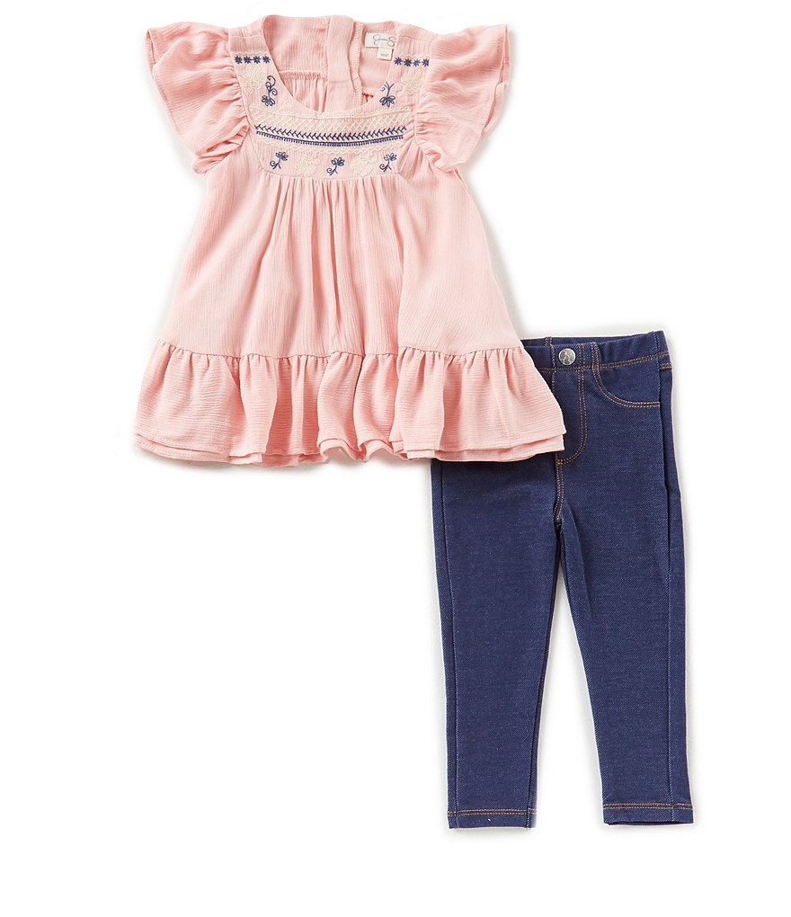 Jessica Simpson Baby Girls 12-24 Months Embroidered Ruffle-Hem Top & Jeggings Set