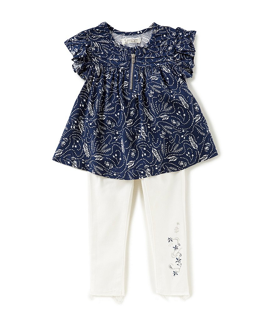 Jessica Simpson Baby Girls 12-24 Months Feather-Printed Top & Stretch Twill Denim-Look Pants