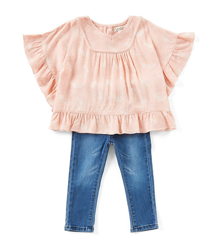 Jessica Simpson Baby Girls 12-24 Months Printed Ruffle-Trim Top & Jeans Set
