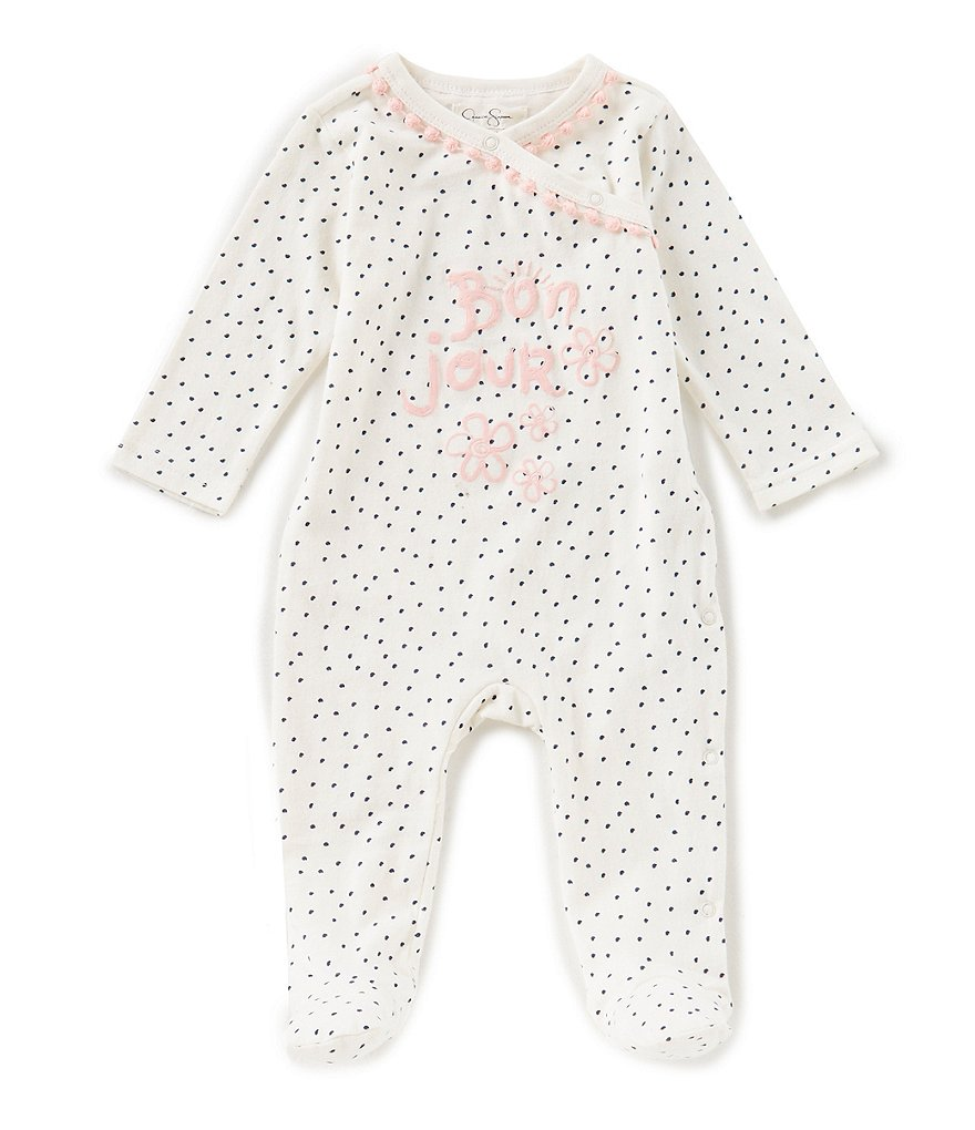 Jessica Simpson Baby Girls Newborn-9 Months Bonjour Footed Coverall