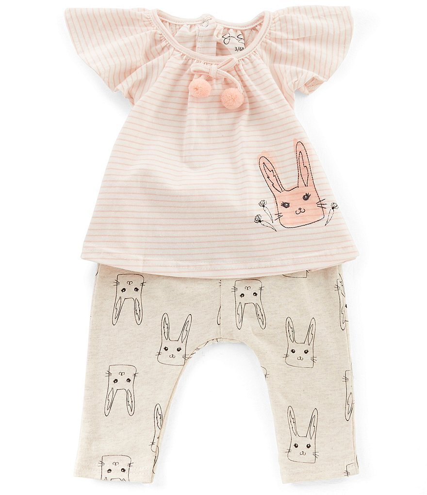Jessica Simpson Baby Girls Newborn-9 Months Bunny Flutter-Sleeve Top & Printed Pants Set