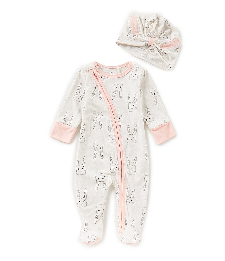 Jessica Simpson Baby Girls Newborn-9 Months Bunny-Print Footed Coverall & Hat Set