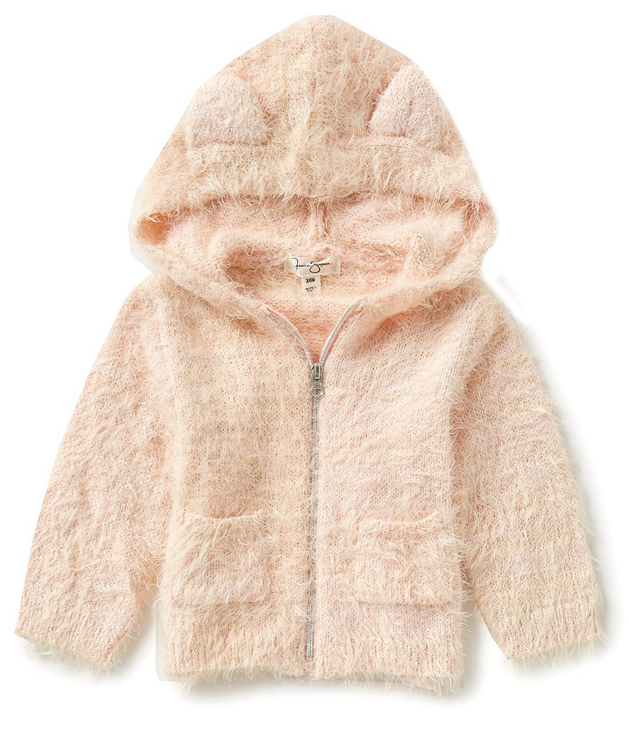 Jessica Simpson Baby Girls Newborn-9 Months Eyelash Sparkle-Knit Hoodie