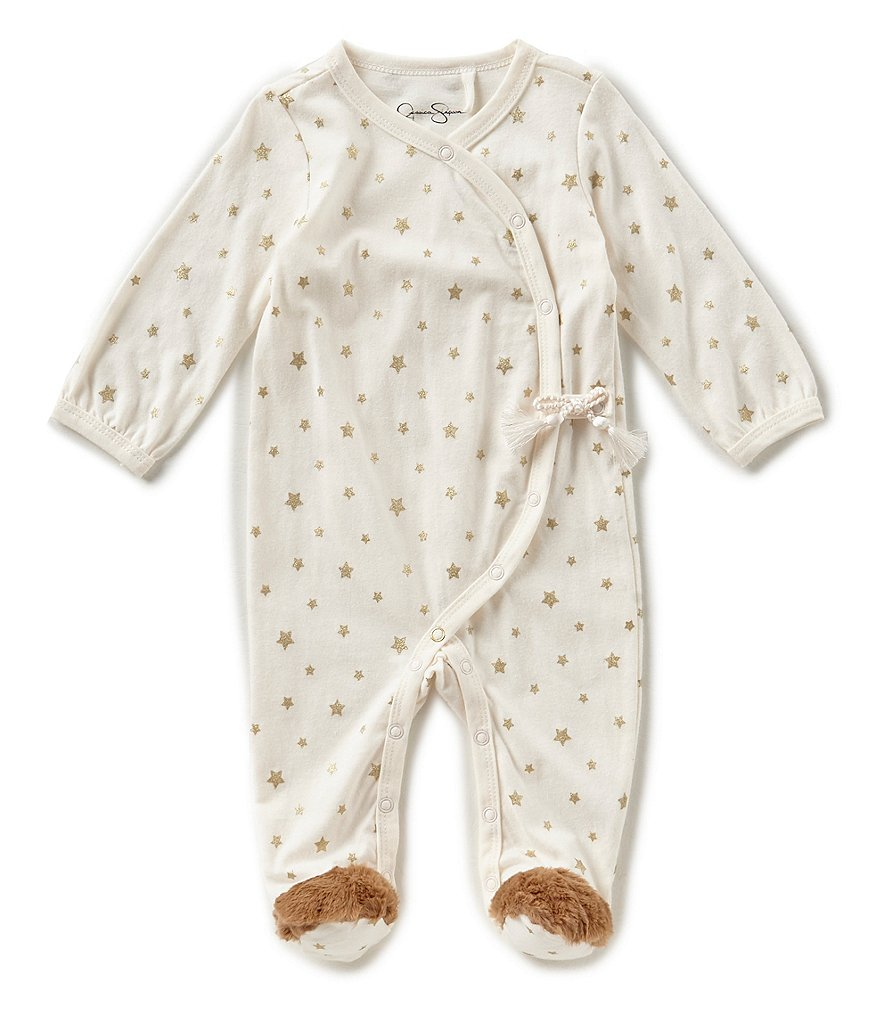Jessica Simpson Baby Girls Newborn-9 Months Foiled-Print Footed Coverall