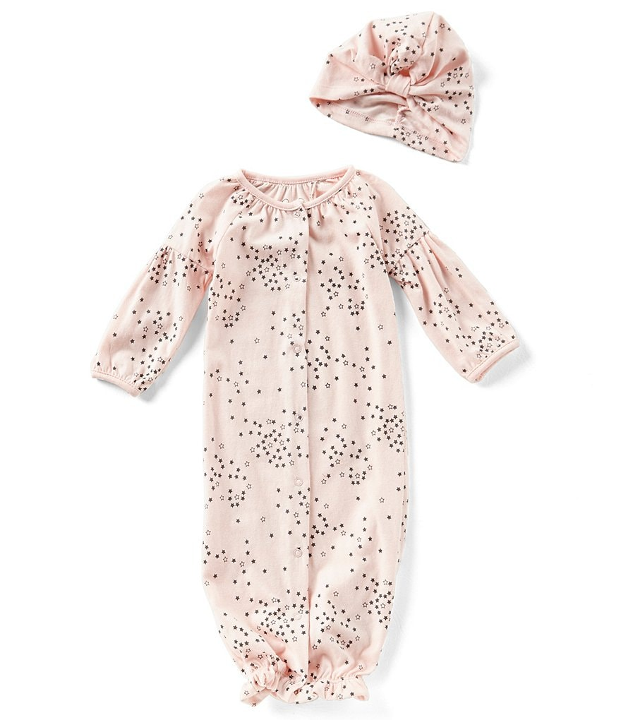 Jessica Simpson Baby Girls Newborn-9 Months Printed Long-Sleeve Gown & Matching Hat Set