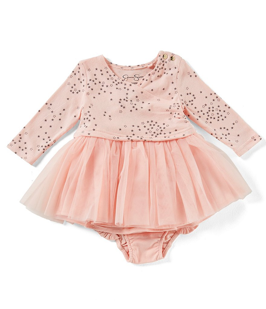 Jessica Simpson Baby Girls Newborn-9 Months Star-Print Mesh Dress