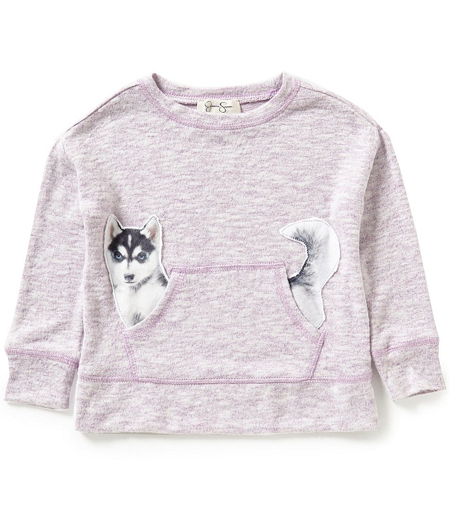 Jessica Simpson Big Girls 7-16 Cinna Dog Long Sleeve Top