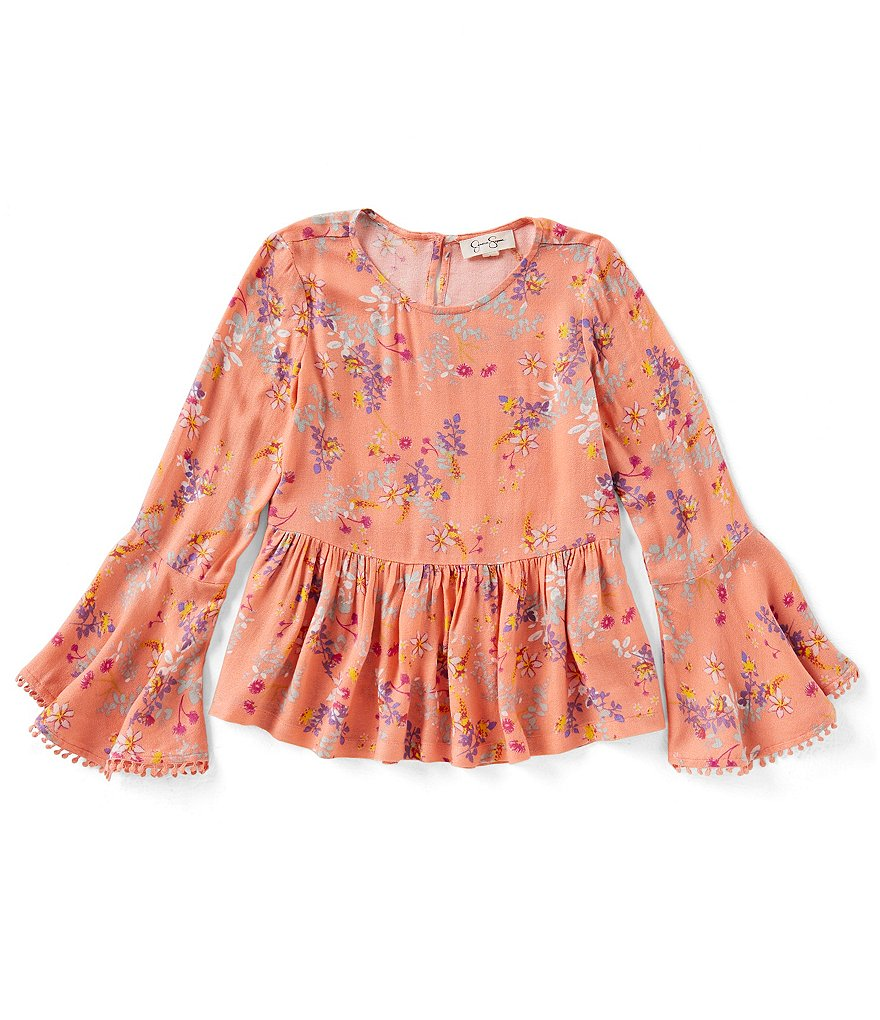 Jessica Simpson Big Girls 7-16 Floral Bell-Sleeve Top