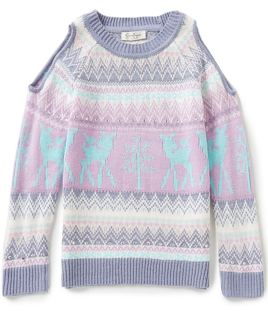 Jessica Simpson Big Girls 7-16 Kate Cold-Shoulder Sweater
